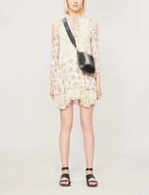 ALICE & OLIVIA Glynda Cold-Shoulder Ruffled Floral-Print Crepe Mini Cream Dress