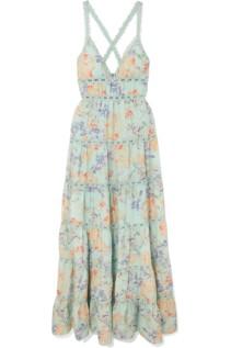 ALICE + OLIVIA Karolina Crochet-Trimmed Floral-Print Chiffon Maxi Green Dress