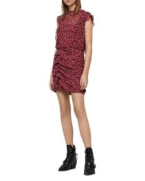 ALLSAINTS Hali Roar Ruched Leopard Print Pink Dress