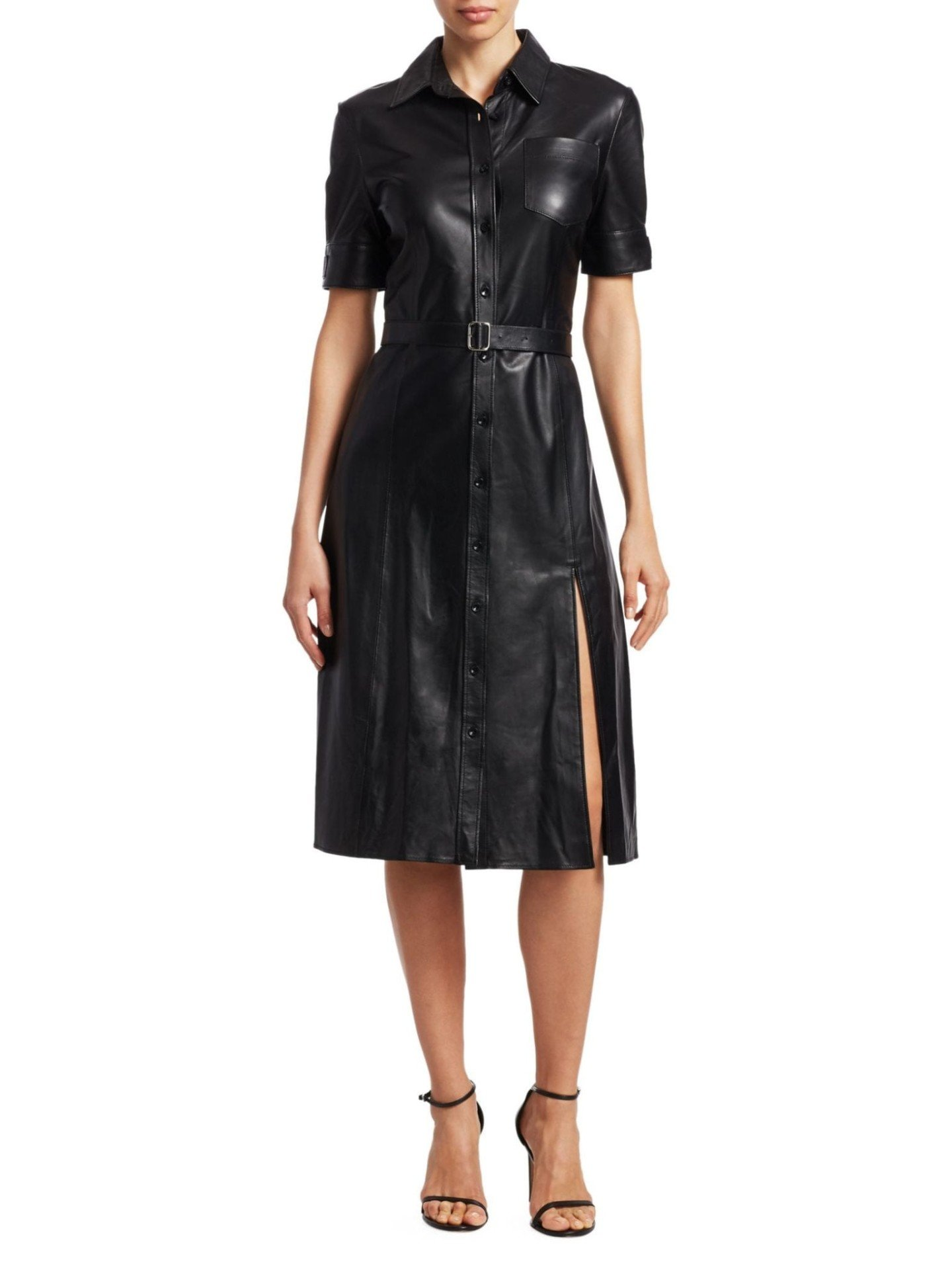 ALTUZARRA Kieran Leather Shirt Black Dress
