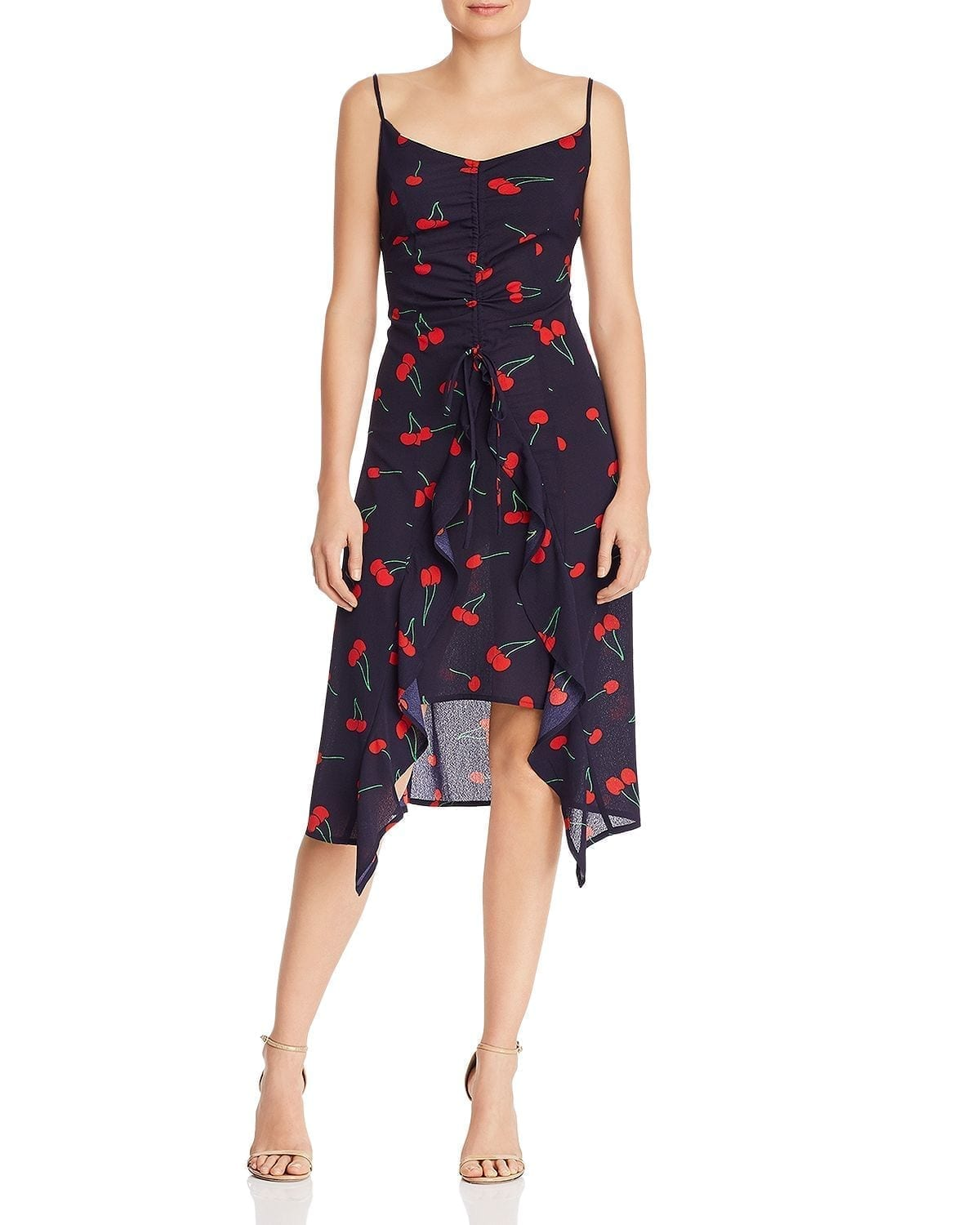 AQUA High/Low Cherry Print Midi Navy Dress