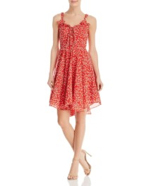 AQUA Lace-Up Red / Floral Printed Dress