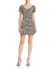 AQUA Leopard-Print Mini Black Dress