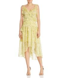 AQUA Ruffled Midi Yellow / Floral Printed Dress
