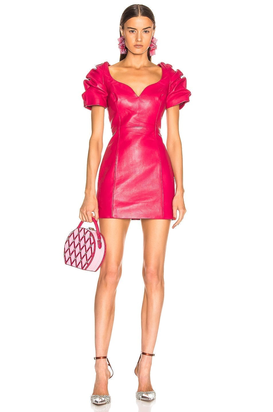 AREA Leather Balloon Pink Dress