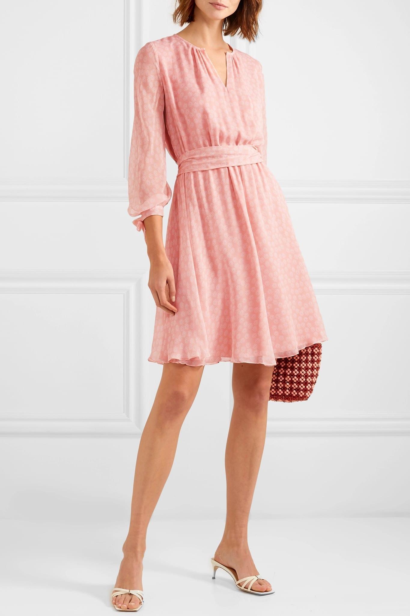 d8e1cd014 AROSS GIRL X SOLER Amanda Belted Floral-Print Silk-Georgette Mini Pink Dress