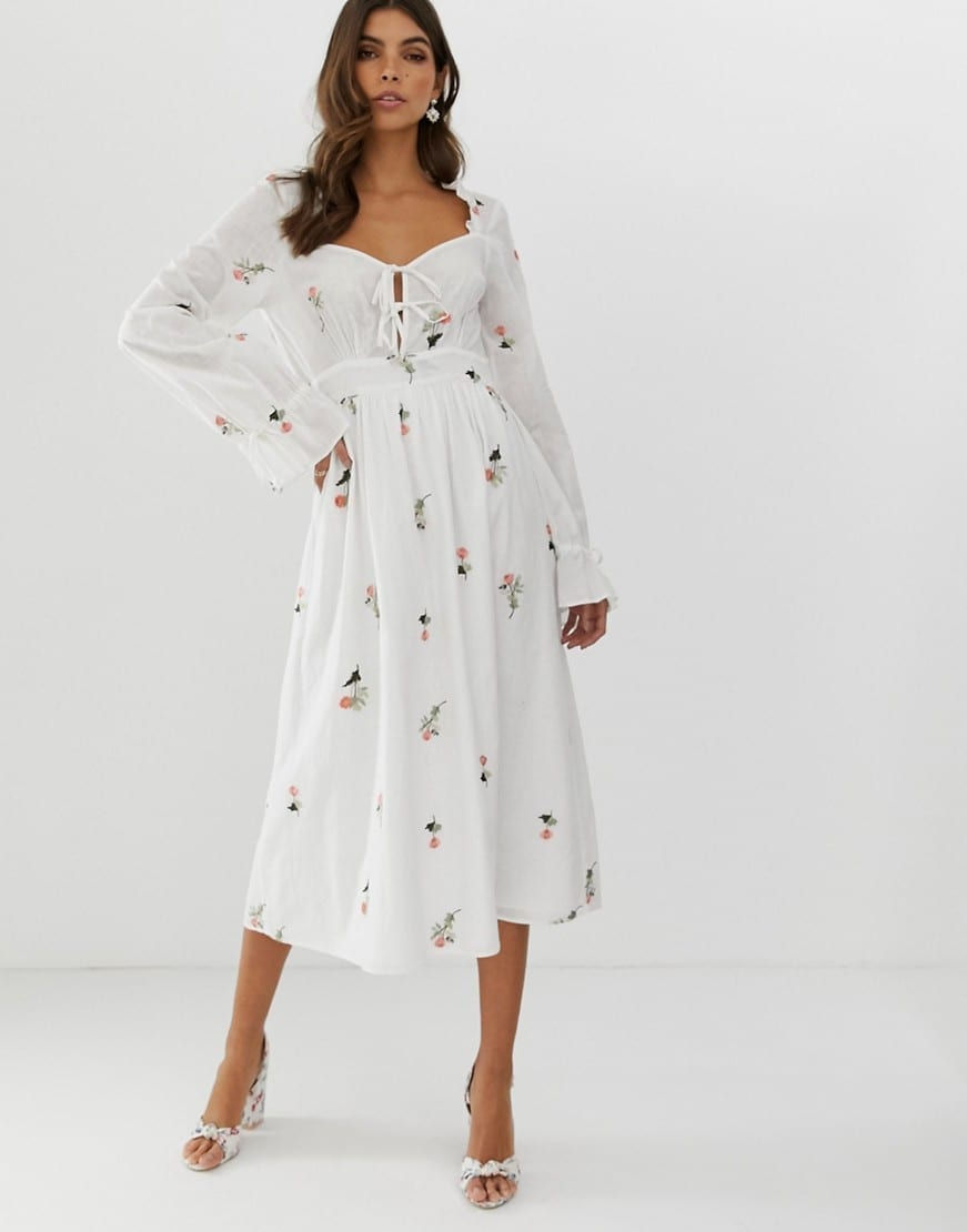 ASOS DESIGN All Over Embroidery Sweetheart Midi White Dress