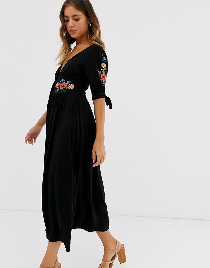 0c75639963 ASOS DESIGN Embroidered Midi Button Through Tea Black Dress