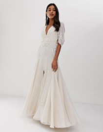 ASOS DESIGN Linear Sequin And Yellow Floral Beading Maxi White Dress
