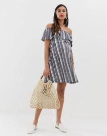 ASOS DESIGN Maternity Off Shoulder Pique Stripe With Belt Sun Blue Dress