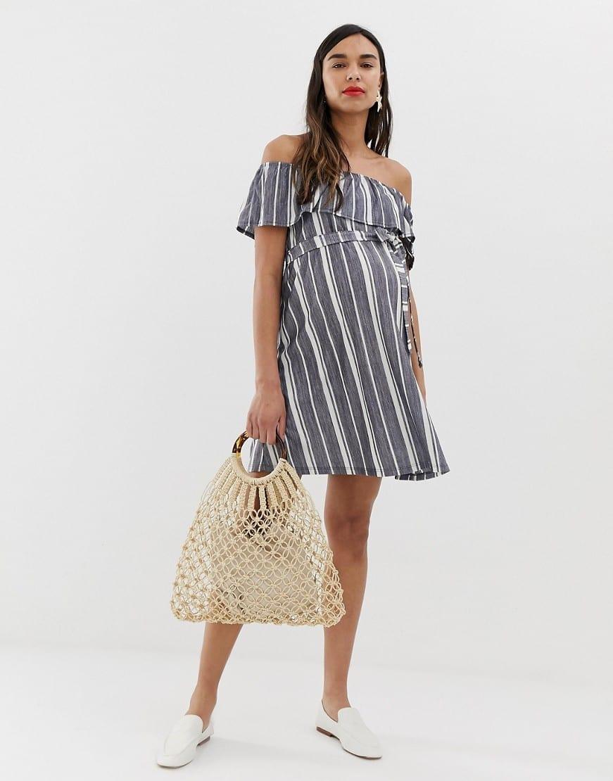 3e392eb8e311 ASOS DESIGN Maternity Off Shoulder Pique Stripe With Belt Sun Blue Dress