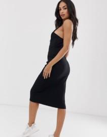 ASOS DESIGN Midi Cami Rib Bodycon Lace Top Black Dress