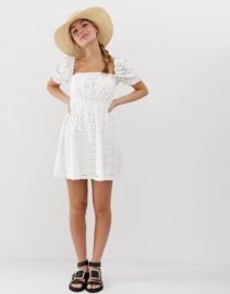 ASOS DESIGN Petite Prairie Broderie Mini White Dress
