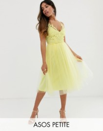 ASOS DESIGN Petite Premium Lace Top Tulle Cami Midi Yellow Dress