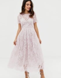ASOS DESIGN Ribbon Tie And Open Back Lace Midi Light Pink Dress