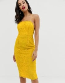 ASOS DESIGN Square Neck Midi Pencil Lace Yellow Dress