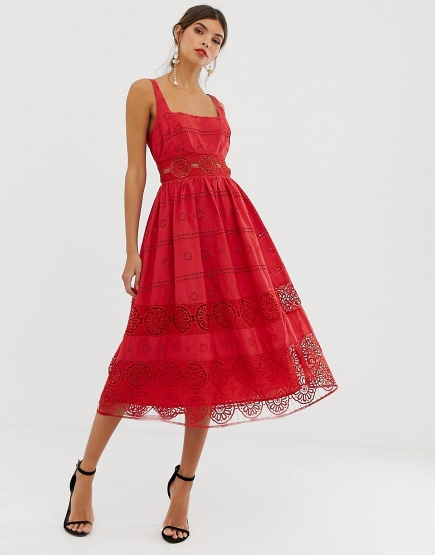 ASOS DESIGN Square Neck Midi Prom Lace Insert Red Dress