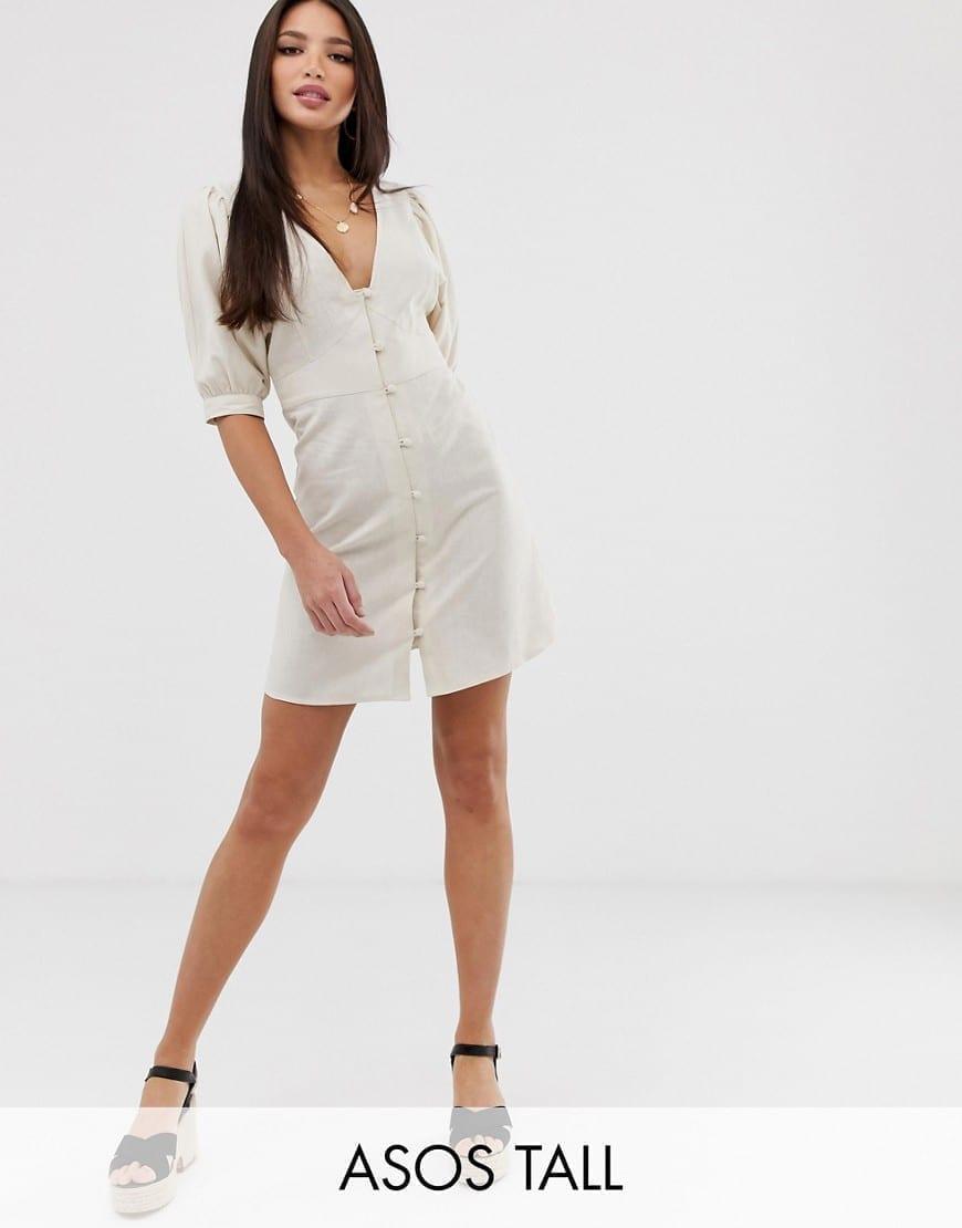 5d26684ba907 ASOS DESIGN Tall Casual Button Through Puff Sleeve Mini Skater Cream Dress