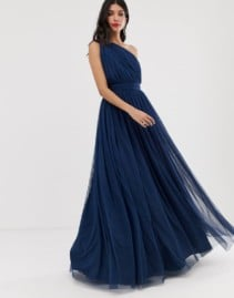 ASOS DESIGN Tall Tulle One Shoulder Maxi Navy Dress