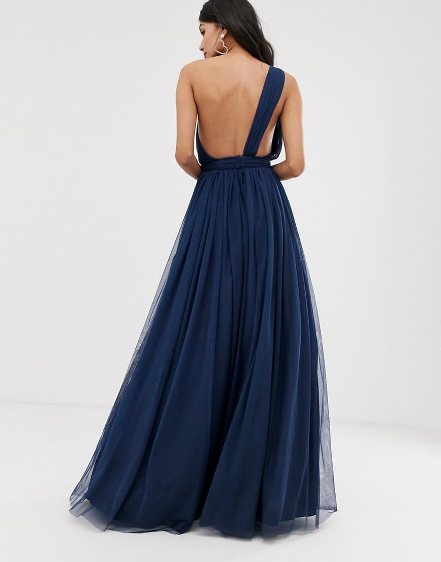 ASOS DESIGN Tall Tulle One Shoulder Maxi Navy Dress