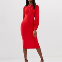 68a713f00f2d ASOS DESIGN Tall Woven Mix Midi Pencil Round Necked Red Dress - We ...