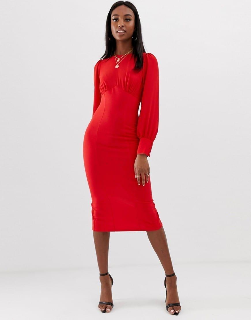 ASOS DESIGN Tall Woven Mix Midi Pencil Red Dress
