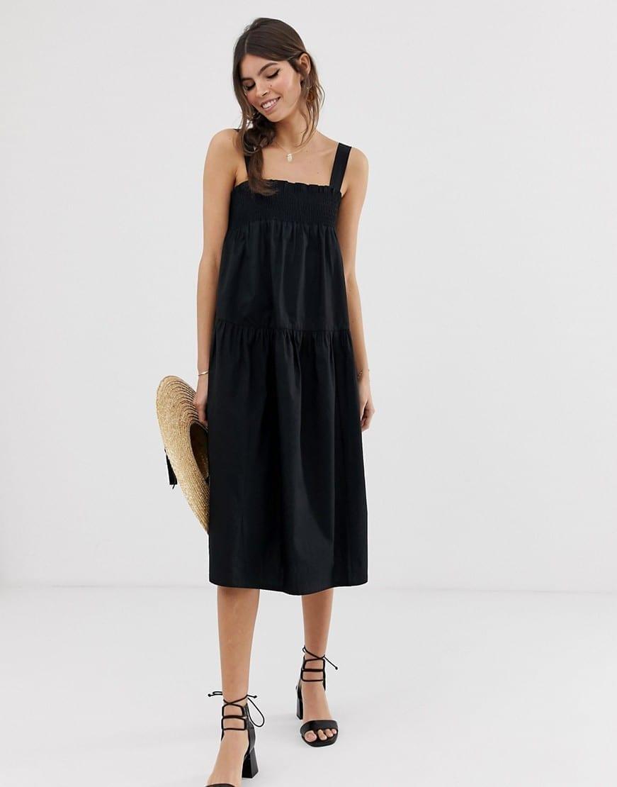 e378b96ca3 ASOS DESIGN Trapeze Midi Cotton Sun Black Dress