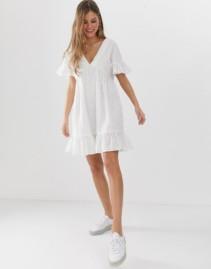 ASOS DESIGN V-Front V-Back Pep Hem Smock Mini White Dress
