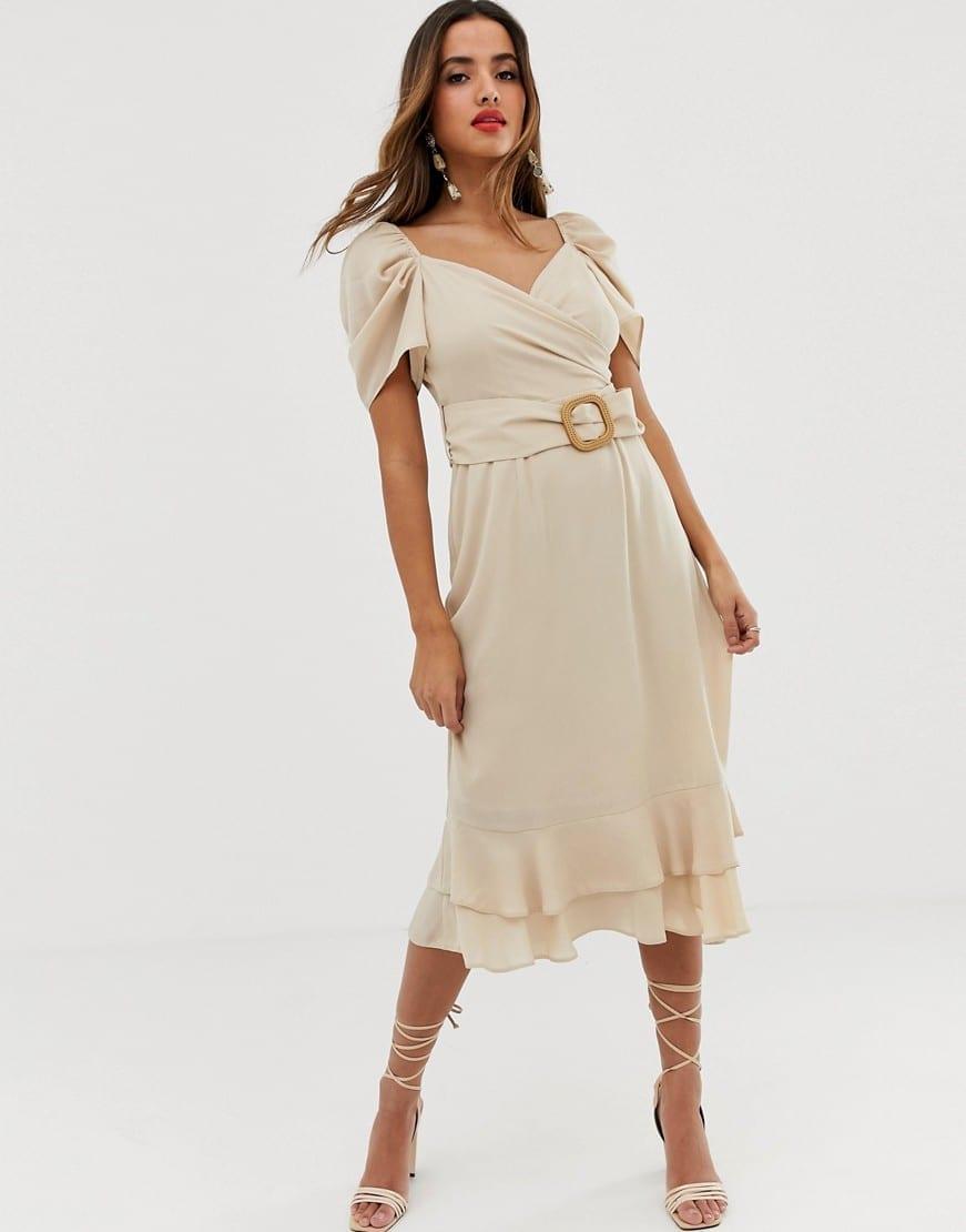 ASOS DESIGN Wrap Double Layer Midi Cream Dress