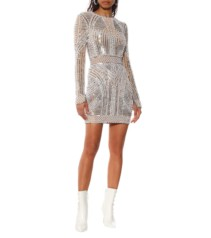 BALMAIN Embellished Mini Beige Dress