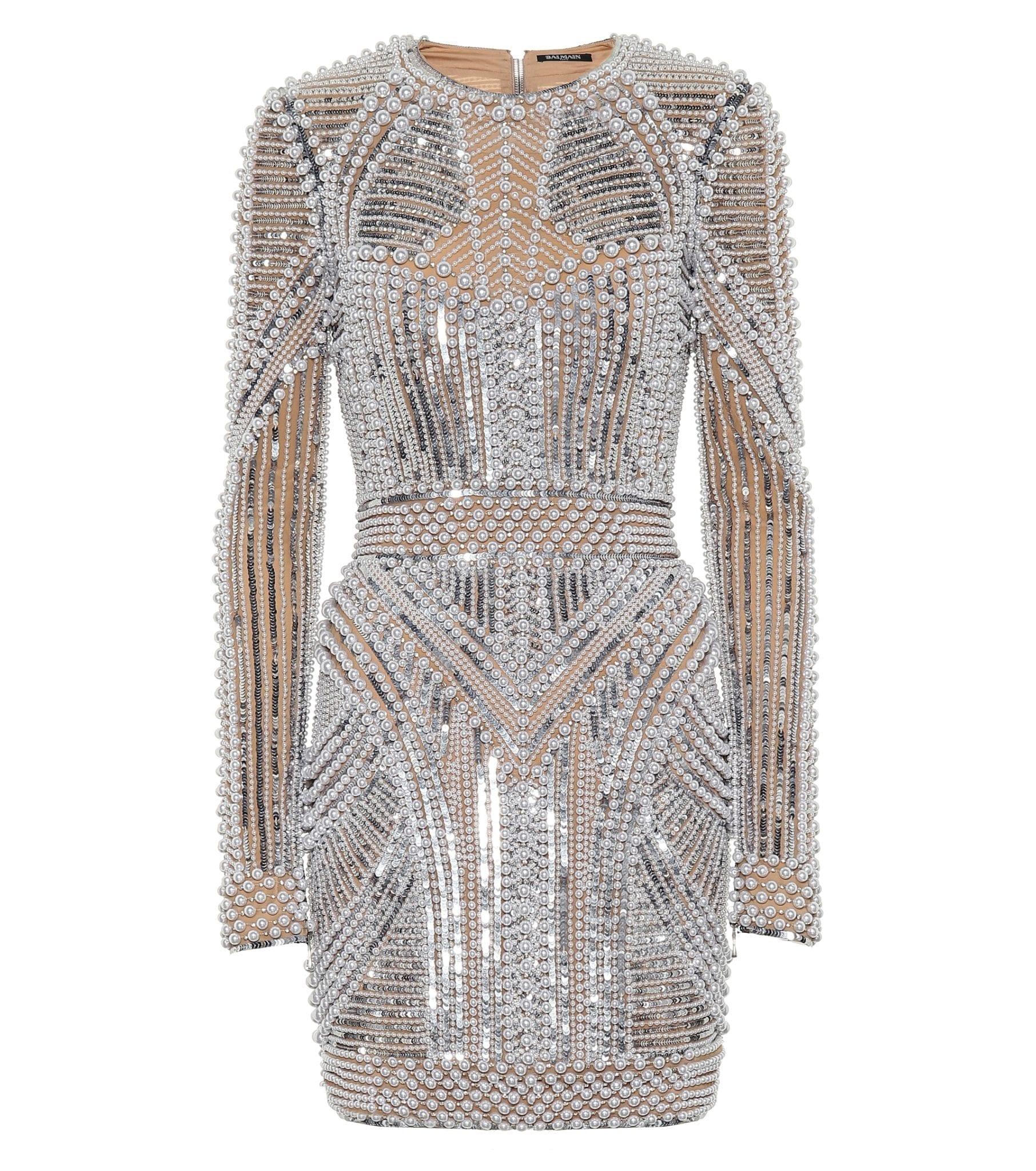BALMAIN Embellished Mini Beige Dress