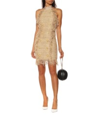 BALMAIN Silk-Blend Tweed Mini Beige Dress
