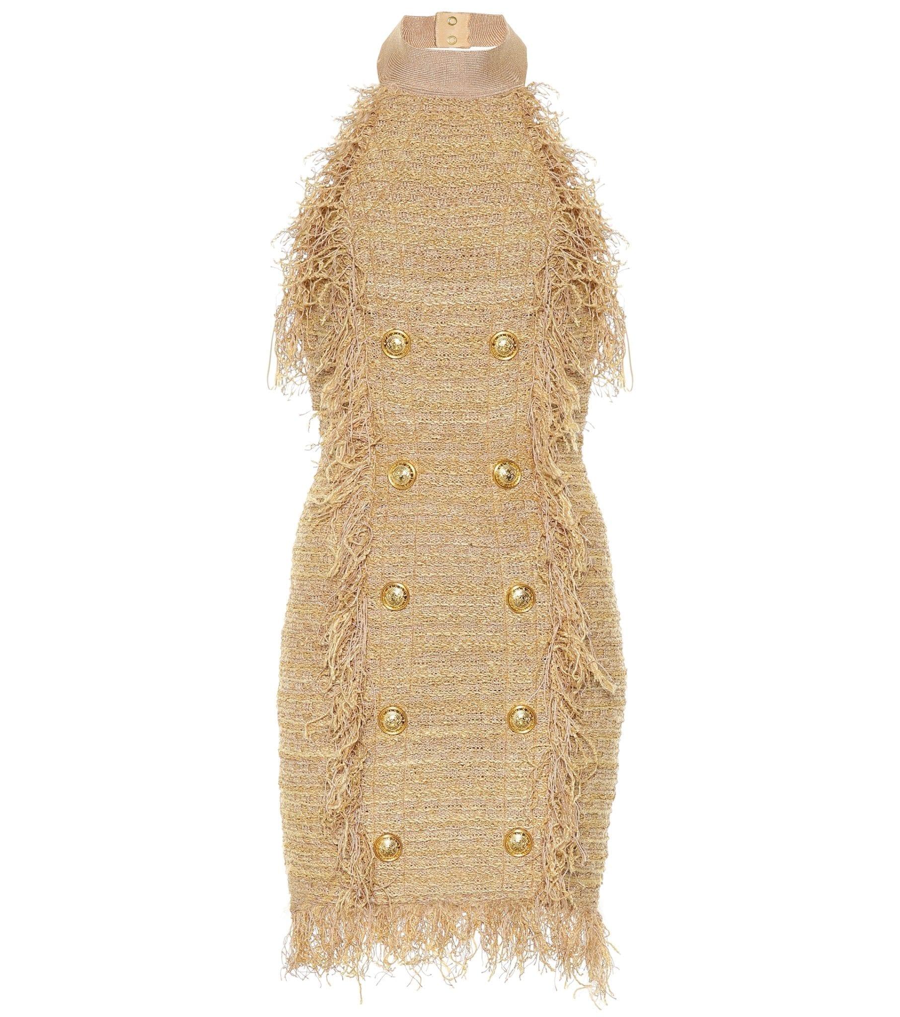 9c4dd0f1 BALMAIN Silk-Blend Tweed Mini Beige Dress - We Select Dresses