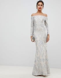 BARIANO Embellished Patterned Sequin Off Shoulder Maxi Silver Dress