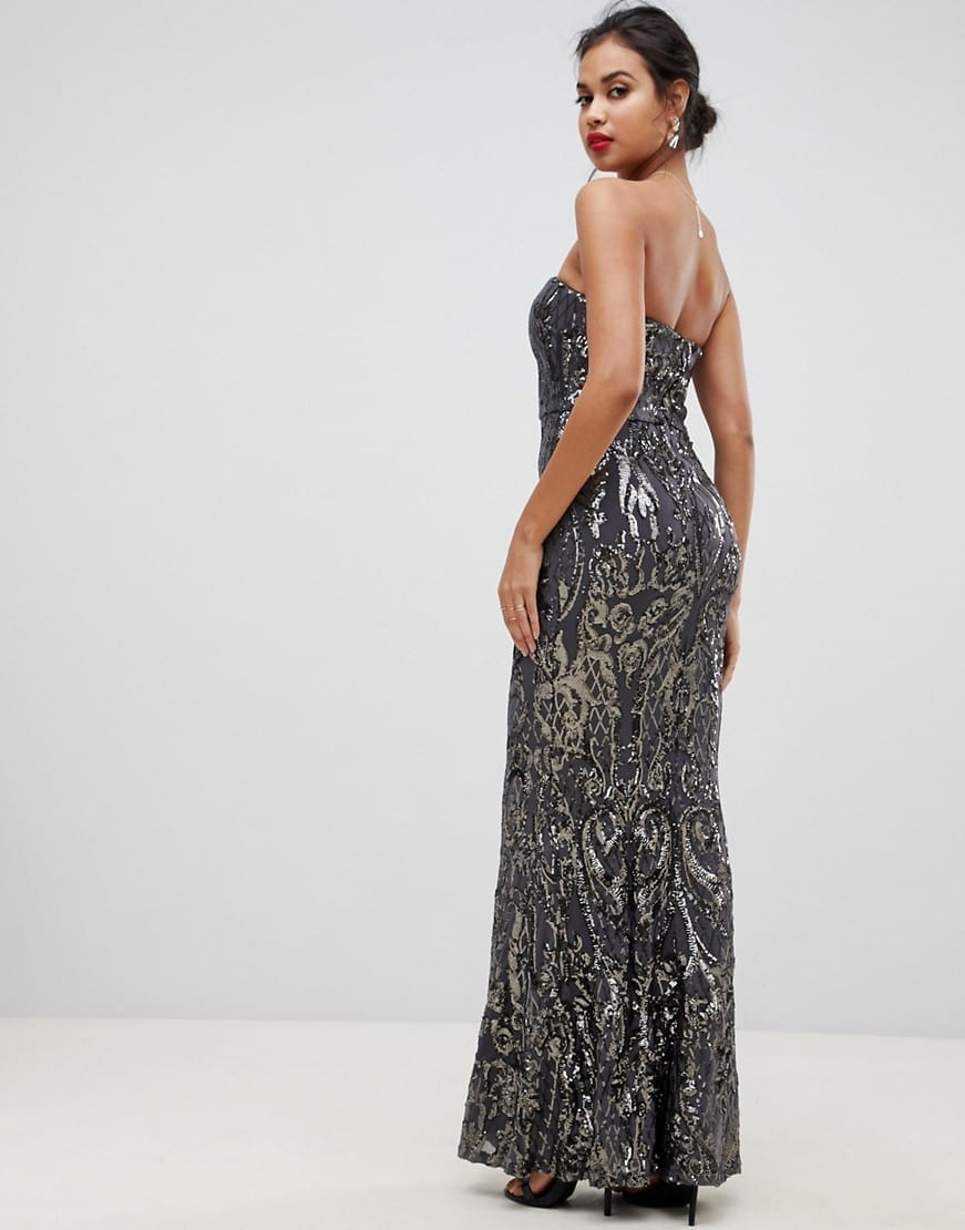 BARIANO Embellished Patterned Sequin Sweetheart Bandeau Maxi Grey Dress
