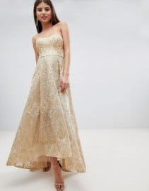 BARIANO High Low Bandeau Jacquard Metallic Maxi Gold Dress