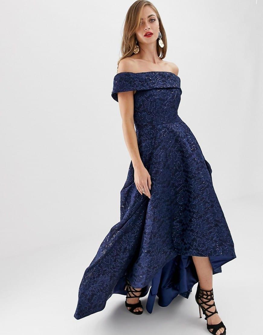 BARIANO High Low Hem Off Shoulder Full Prom Navy Dress