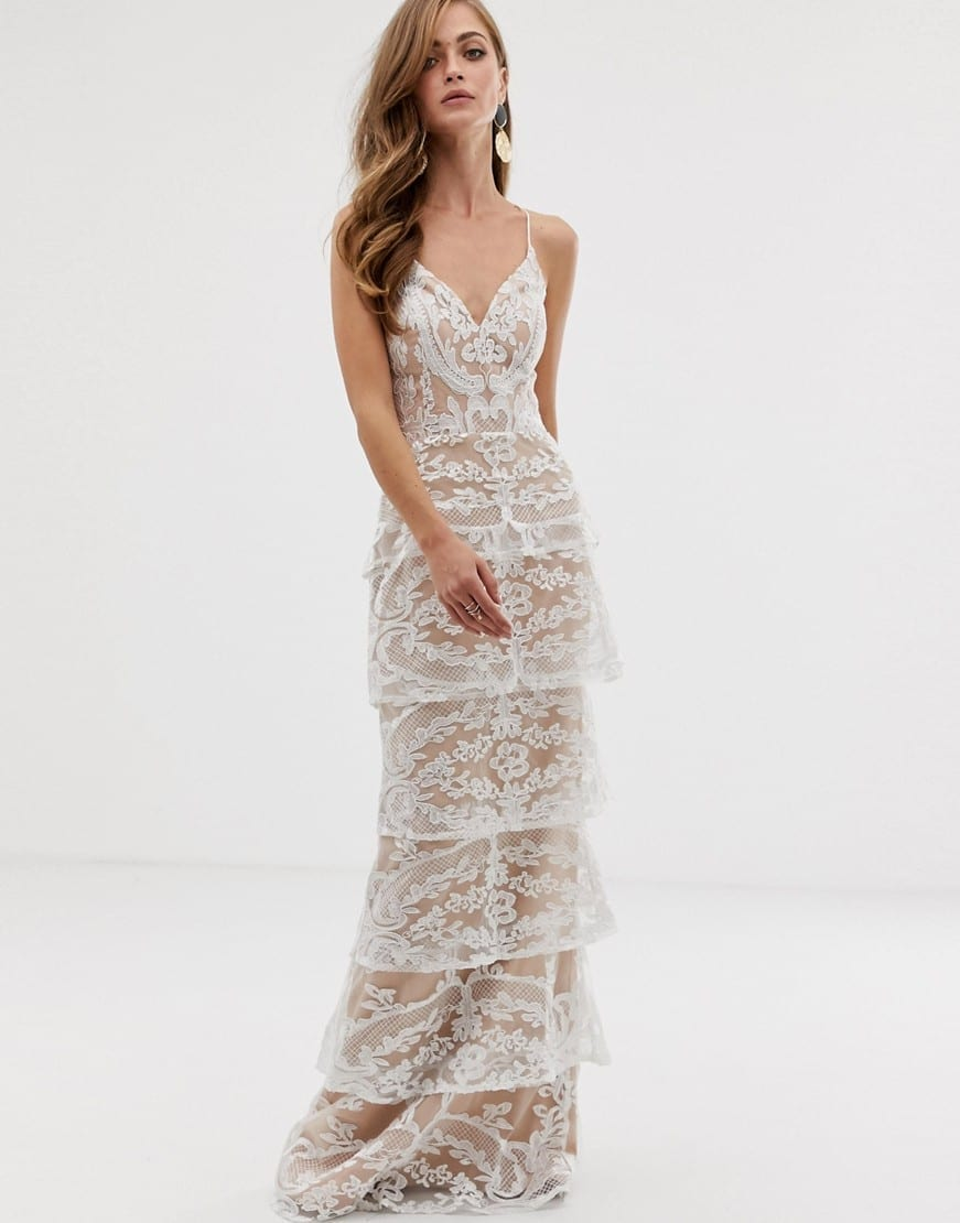 BARIANO Tiered Contrast Lace Maxi White Dress