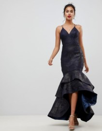 BARIANO Tiered Fishtail Mesh Maxi Navy Dress