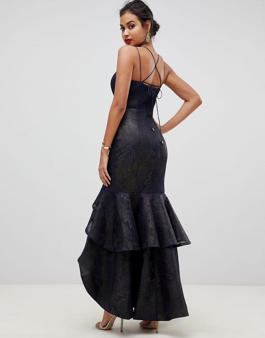 BARIANO Tiered Fishtail Mesh Maxi Navy Dress