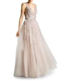 BASIX Embellished Tulle Ball Mauve Gown