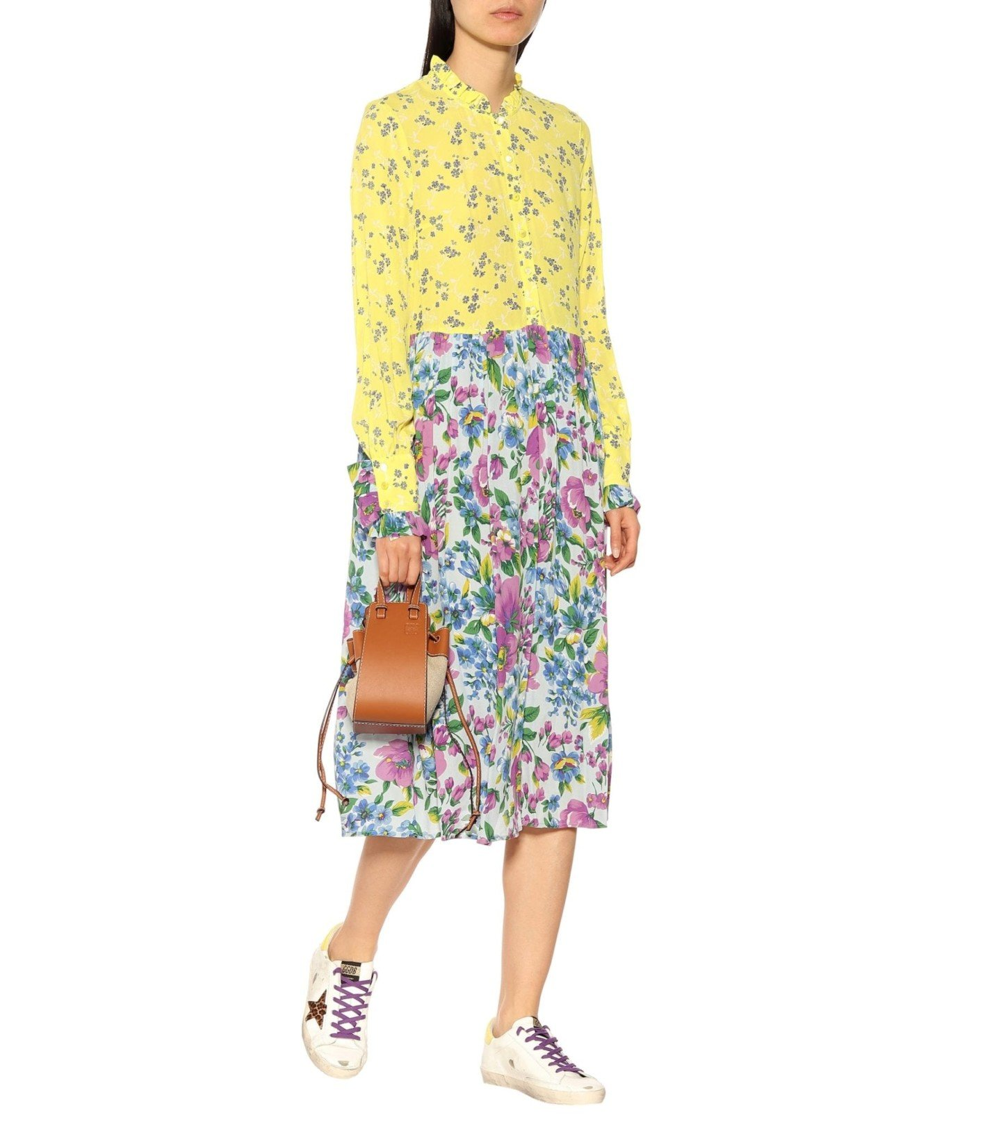 BAUM UND PFERDGARTEN Exclusive To Mytheresa – Acacia Silk-Blend Crêpe Yellow Dress