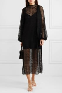 BEAUFILLE Cohen Corded Lace Midi Black Dress