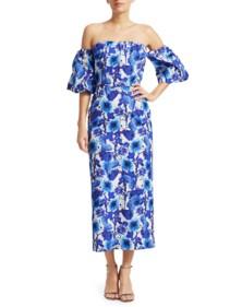 BORGO DE NOR Adelita Puff Sleeve Cotton Blue Dress