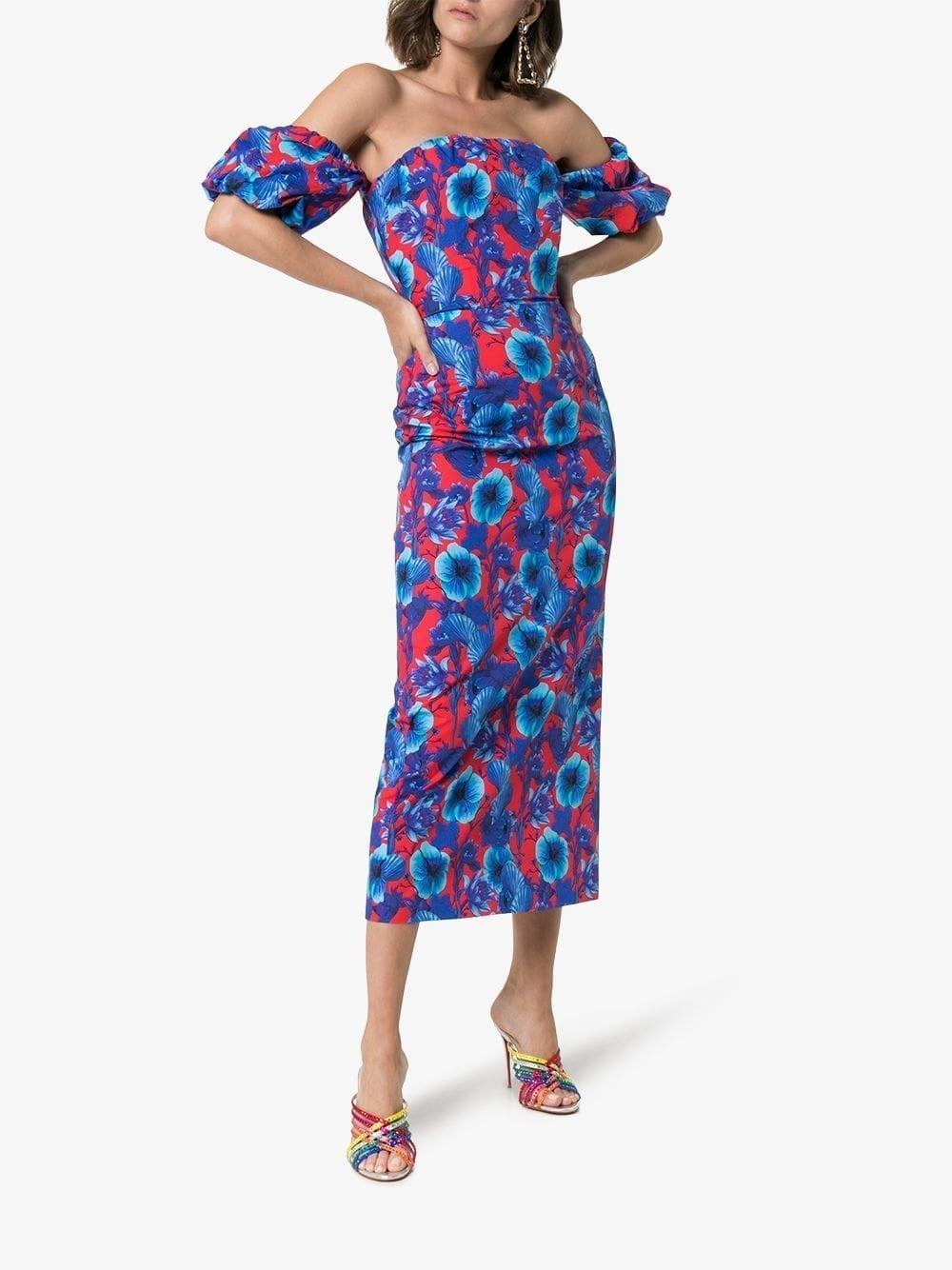 BORGO DE NOR Bardot Red / Floral Printed Dress