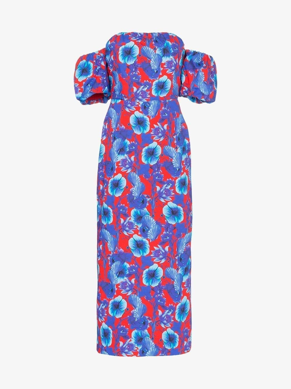 BORGO DE NOR Bardot Red / Floral Printed Dress
