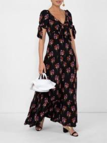 BORGO DE NOR Bow-detailed Black / Floral Printed Dress