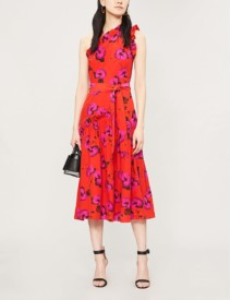 BORGO DE NOR Layla Floral-Print Silk Midi Red Dress