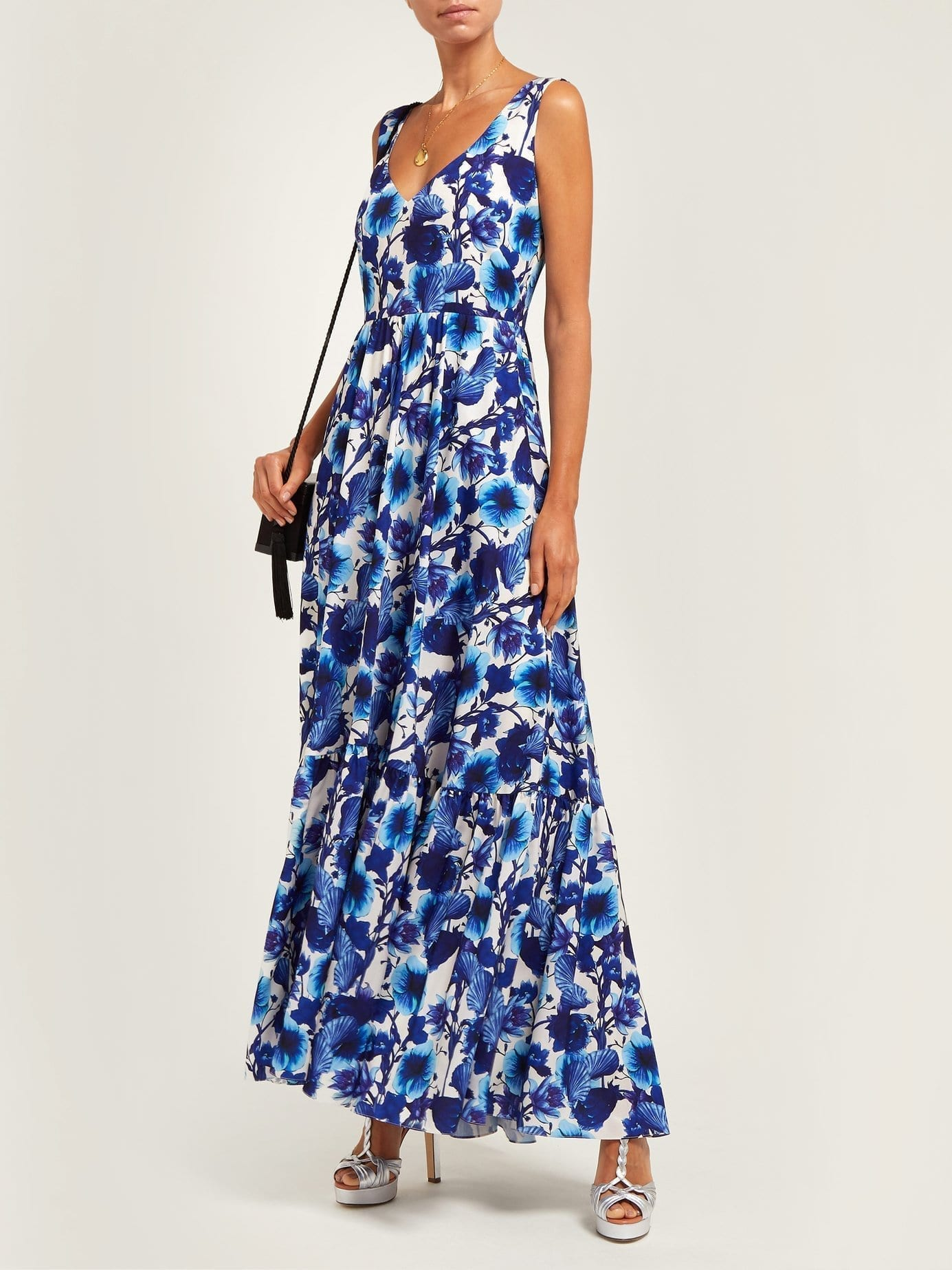 BORGO DE NOR Venetia Venus-Print Crepe Maxi White Dress