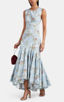 BROCK COLLECTION Othmana Floral Cotton-Blend Moire Blue Gown